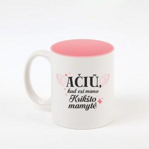 """""""Krikšto mama"""" dekoruotas puodelis"""