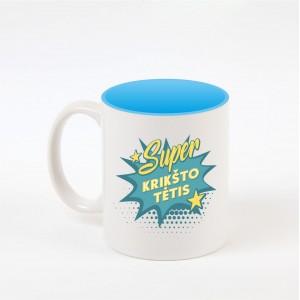 """Super krikšto tėtis"" dekoruotas puodelis"