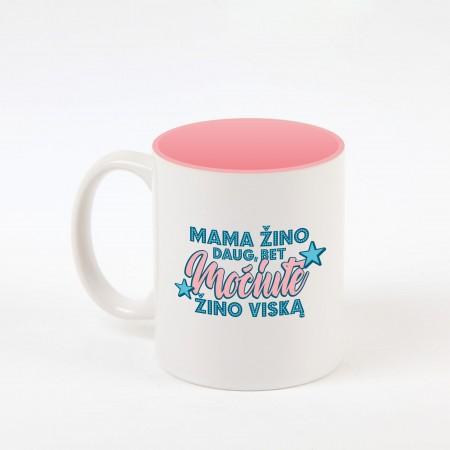"""""""Močiutė žino"""" dekoruotas puodelis"""