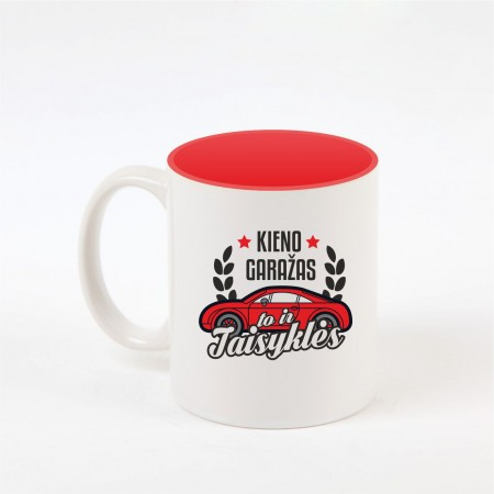 """Garažo taisyklės"" dekoruotas puodelis"