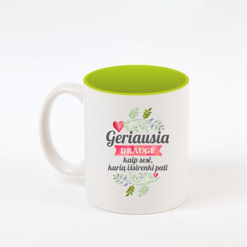 """""""Geriausia draugė"""" dekoruotas puodelis"""