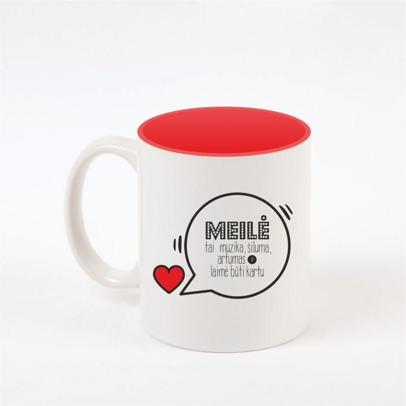 """""""Meilė"""" dekoruotas puodelis"""