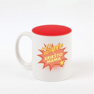 """Super krikšto mama"" dekoruotas puodelis"